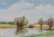 Ueberschwemmung-Nidder-2011-38x56-Aquarell-Gouache